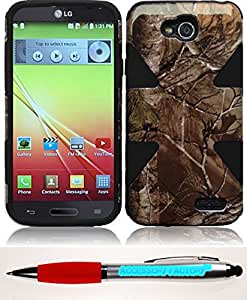 Accessory Factory(TM) Bundle (the item, 2in1 Stylus Point Pen) For LG L90 Dynamic Slim Hybrid Cover Case - Camouflage+Black