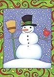 Toland Home Garden Top Hat Snowman 12.5 x 18 Inch Decorative Colorful Winter Snow Cardinal Bird Garden Flag
