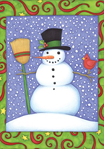 Toland Home Garden Top Hat Snowman 12.5 x 18 Inch Decorative Colorful Winter Snow Cardinal Bird Garden Flag