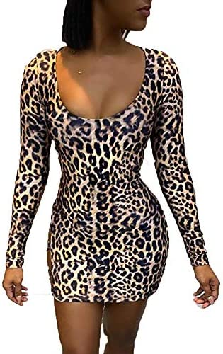 Women Leopard Print Lace-up Backless Dress Fashion Round Neck Halter Slim Fit Sexy Open Back Bag Hip Dress
