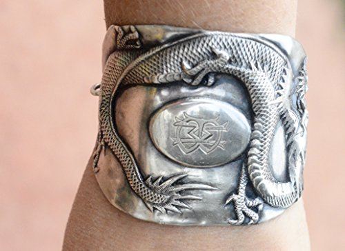 Rare Antique, Chinese Dragon Export Wide Cuff Bracelet Art Nouveau 925 Solid Sterling Silver .925 Repoussé Wide Repurposed Asian OOAK Handmade Sterling Silver Dragon Art
