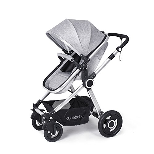 Toddler Stroller Folding Convertible Carriage Infant Anti-Shock High View Luxury Baby Stroller Newborn Pram Stroller Pushchair Stroller for Babies(Grey) by Cynebaby
