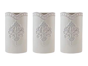 LB H&F 3 x Luftbefeuchter für die Heizung zum Hängen Creme Keramik Shabby