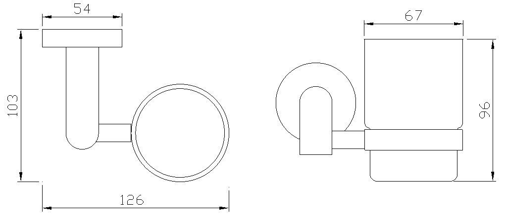 Sehr schöner Glashalter Becherhaltermit Zahnputzbecher aus gehärtetem Glas aus unserer Serie Salerno in einem modernen geschmackvollen Design Kein Plastik 171058 Hochglanz verchromtes Messing Hochwertige Qualität ! VELMA