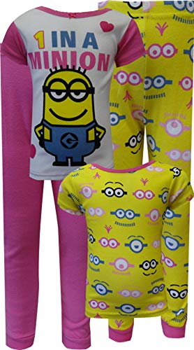 Despicable Me Little Girls' 1 In A Minion 4-Piece Pajama Set, Multi, 6