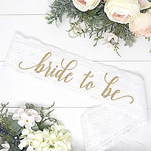 Lace Bachelorette Sash - White Lace - Gold