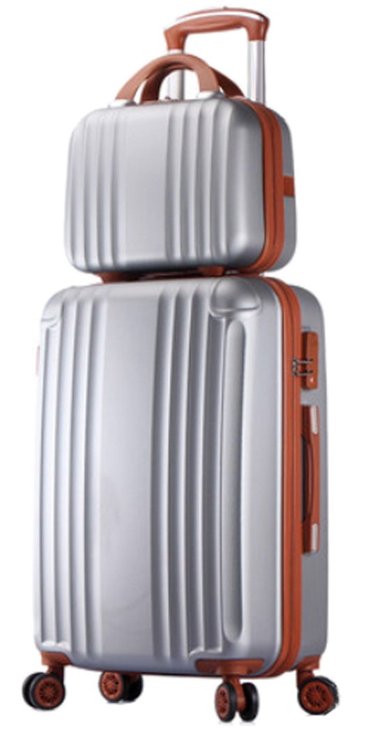 Womens ABS Spinner Luggage Candy Color Hardside Rolling Zipper Suitcase - 26 Inch Silver by Songren