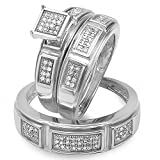0.33 Carat (cwt) Sterling Silver Round White Diamond Men And Womens Engagement Ring 3 PC Trio Set 1/3 CT