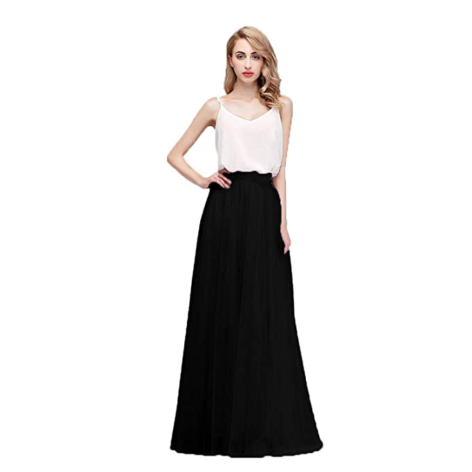 8bd57edd76 Honey Qiao Women's Maxi High Waist Skirts Blush Tulle Holiday Formal Skirt  Black