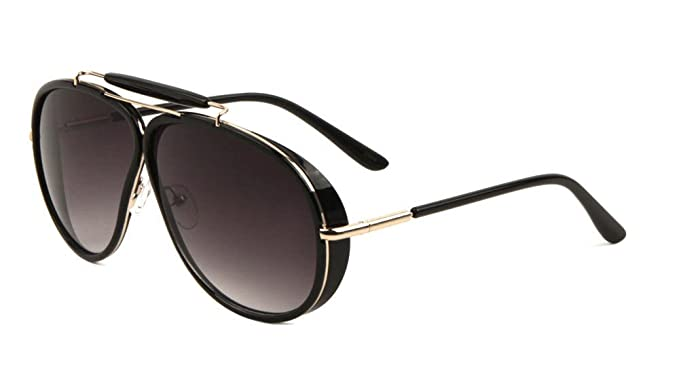 0b944a4155 Oversized Outdoorsman Aviator Sunglasses w Brow Bar   Side Shields (Black    Gold Frame