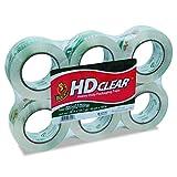 Duck Brand HD Cinta transparente de alto desempeño para embalaje , Rollo de 100 m, Paquete 6
