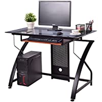 Tangkula Computer Desk Home Office Compact Writing Table with Glass Top