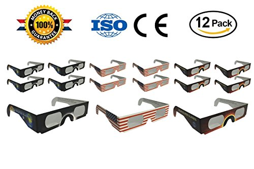 Solar Eclipse Glasses 2017 - CE and ISO Certified - Eye Glasses for The Eclipse - Eclipse Viewing Glasses -Glasses to View Solor Eclipse - Safe Solar Viewing - Cool Style and Look - 12pk with 3 Models