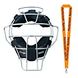 Champion Sports Umpire Lightweight Umpire Face Mask Silver Bundle with 1 Performall Lanyard BM200SL-1P