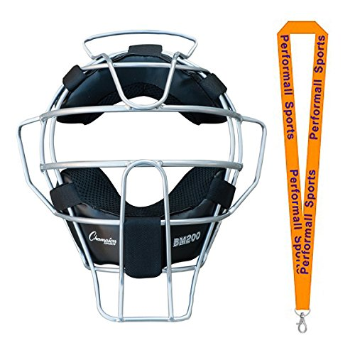 Champion Sports Umpire Lightweight Umpire Face Mask Silver Bundle with 1 Performall Lanyard BM200SL-1P by Champion Sports