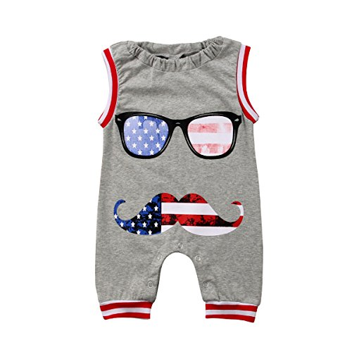 ant Baby Boy Girl Sleeveless Moustache 4th of July Romper Jumpsuit Outfit (Gray, 12-18 Months) ()