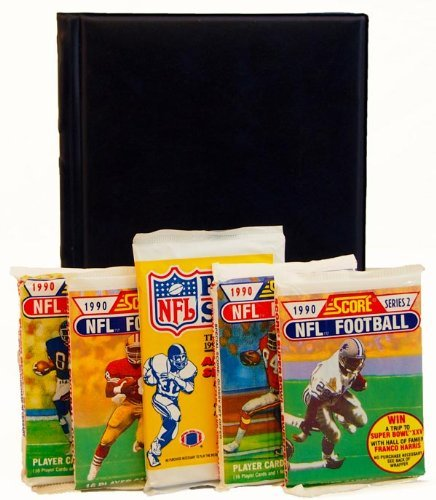 Football Card Collecting Starter Set Kit NFL with 6 Football Card Packs & Album