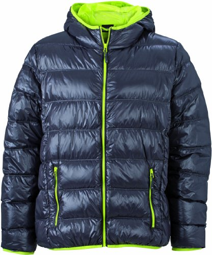 James & Nicholson Herren Jacke Daunenjacke Men's Down Jacket grau (carbon/acid-yellow) XX-Large