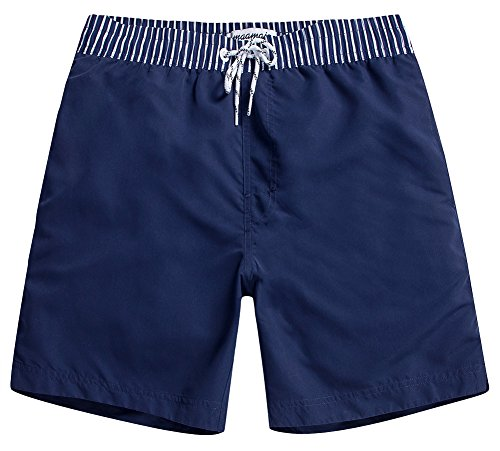 MaaMgic Mens Quick Dry Solid Swim Trunks with Mesh Lining Swimwear Bathing Suits,Navy Striped,XX-Large