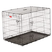Dog Training Crate - Lucky Dog 2 Door Kennel - Includes Rust Resistant Wire, Top Handle for Mobility, Leak-Proof Removable Pan for Easy Cleaning. Perfect for Home, Travel & Pet Training (42-inch)