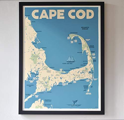 - Cape Cod Map Framed Print (18x24 Giclee Poster, Wall Decor Art)