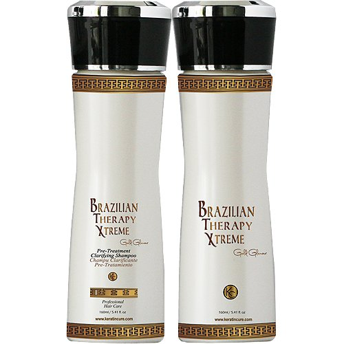 Keratin Cure - 0% Formaldehyde Brazilian Therapy Xtreme BTX Treatment Gold Glamour 150ml 2 Piece Kit with Clarifying Shampoo by Keratin Cure