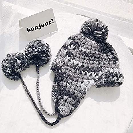 8337e94d5300f Image Unavailable. Image not available for. Color  ForShop Bomber Hats  Women Knitting Caps Double Layer Design with Hairball Earflaps hat Thick  Warm Winter