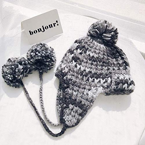Amazon.com  ForShop Bomber Hats Women Knitting Caps Double Layer Design  with Hairball Earflaps hat Thick Warm Winter Hats for Women Wind Cap   Kitchen   ... 943caf5c009