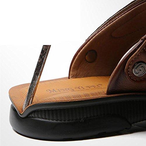 de Transpirable Sandalias suave Zapatos playa Punta uomo Casual Fondo Sandali brown libre Antideslizante abierta Aire SSYY Cuero wz6fqWX