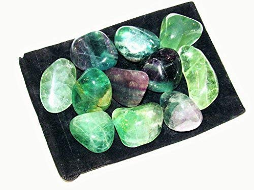 Zentron Crystal Collection: 1/2 Pound Natural Grade A Large Tumbled Rainbow Fluorite - Polished Authentic Wholesale Gemstones for Healing, Wicca, Reiki