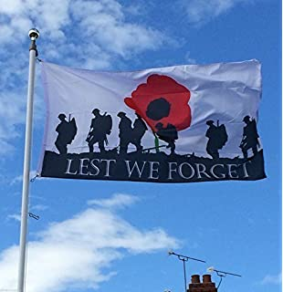 3/' x 2/' Lest We Forget Flag WW1 WW2 Poppy British Army Royal Navy RAF Banner