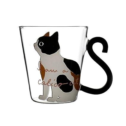 CCMOO 8.5oz Lindo Gato Creativo Leche Taza de Café Taza de Cristal Taza de Té