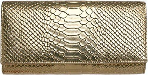 黄金色の蛇柄、金運如意 便利財布 B013W73EGY