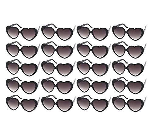 10 Packs Neon Colors Wholesale Heart Sunglasses (20 Packs Black) ()
