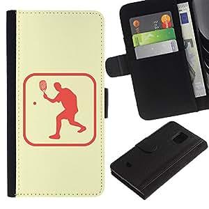 LASTONE PHONE CASE / Lujo Billetera de Cuero Caso del tirón Titular de la tarjeta Flip Carcasa Funda para Samsung Galaxy S5 Mini, SM-G800, NOT S5 REGULAR! / Ping Pong Table Tennis Area
