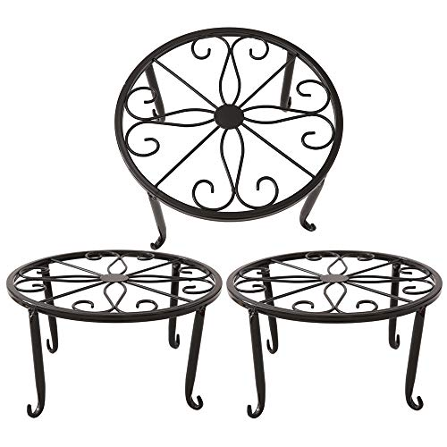 Metal Plant Stand Floor Flower Pot Rack Iron Art Plant Stands Pot Holder,3 Pieces in One Package (Black) (Corner Plant Stand Iron)