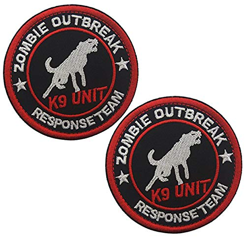 ODSP 3' Round Sized Zombie Outbreak Response Team K9 Unit Embroidered Patch Hook and Loop Backed Badge for Tactical Dog Harness Vest (2PCS)