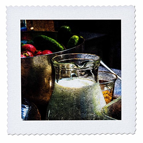 3dRose Alexis Photography - Still-Life - Glass jar with milk, vegetables in a pot. Stylized photo - 6x6 inch quilt square (qs_270850_2) - Pitcher Glass Quilt