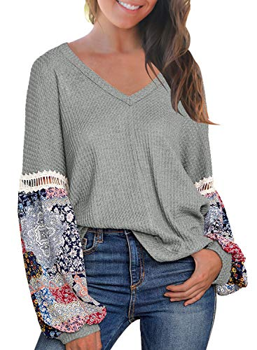 MIHOLL Women's Casual Tops Printed Long Sleeve V Neck T Shirts Loose Pullover Sweater (Small, Grey)