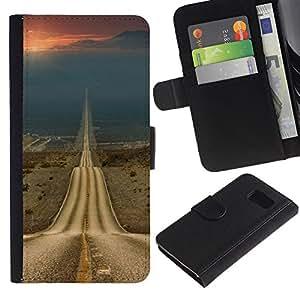 iKiki Tech / Cartera Funda Carcasa - Road Freedom Sunset Open Drive - Samsung Galaxy S6 SM-G920