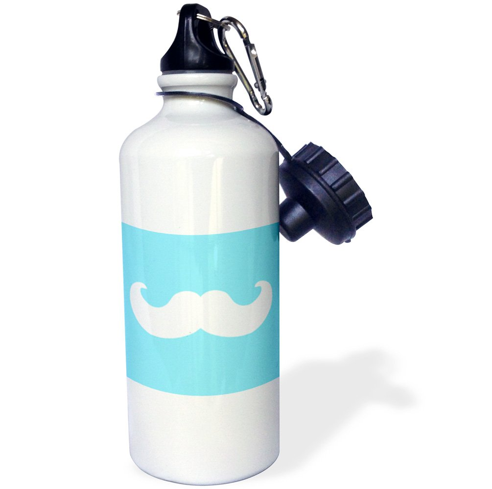 3dRose wb/_58335/_1mustache on sky blue Ironic hipster moustache Humorous Fun Whimsical Silly Funny Sports Water Bottle White 21 oz