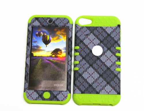 For Apple Ipod Itouch 5 Plaid Gr-te370 Hybrid Shock Resistant Bumper Cover Hard Case And Green Skin With Stylus Pen Koolkase Rocker
