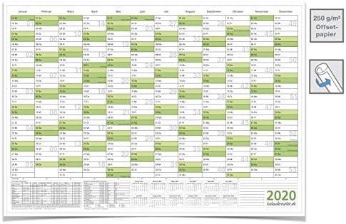 Wandkalender Jahreskalender 2020, DIN A3 42,0 x 29,7 cm mit Ferienangaben gerollt grün Premium