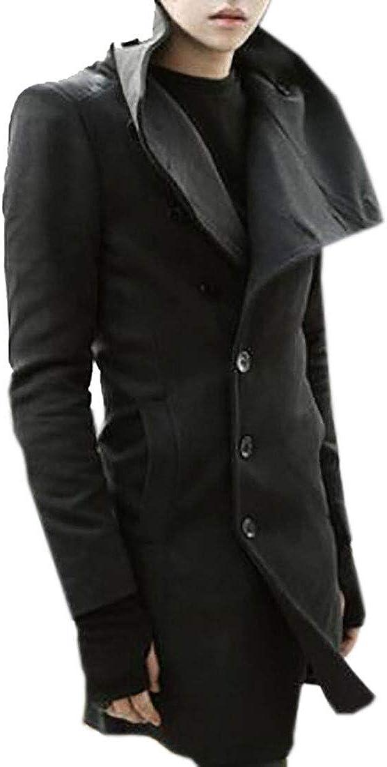 WNSY Men Slim Stylish Mid Length Lapel Big-Tall Pea Coat