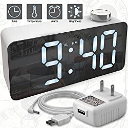 Alarm Clock – Digital Clock LED Display – Time Snooze Temperature Brightness Dimmer – Desk Clock for Kids Heavy Sleepers Adults – White Modern Alarm Clocks for Bedrooms Bedside Home Battery Clock