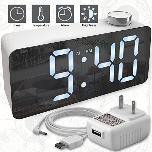 X-Ykoki-Alarm-Clock--Digital-Clock-LED-Display--Time-Snooze-Temperature-Brightness-Dimmer--Desk-Clock-for-Kids-Heavy-Sleepers-Adults--Modern-Alarm-Clocks-for-Bedrooms-Bedside-Home-Battery-Clock
