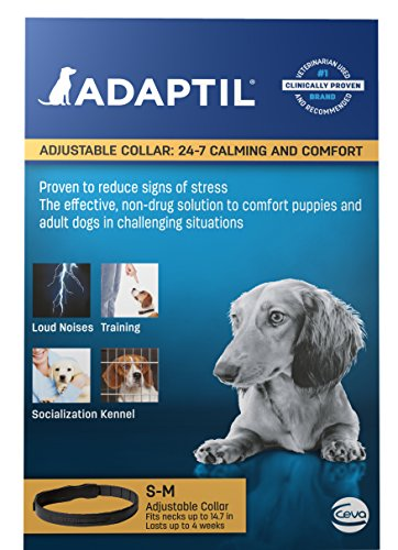 Small Adjustable Collar (Adaptil Calming Pheromone Adjustable Collar for Stressful Small Dogs or Puppy Training max. Neck Size 14.7-Inch)