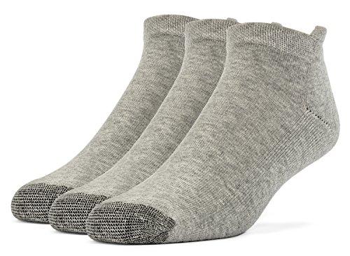 Galiva Men's Cotton Extra Soft No Show Cushion Running Socks - 3 Pairs, Medium, Grey