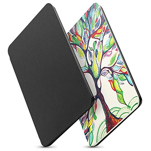 OMOTON Kindle Paperwhite Case (10th Generation-2018) 2 Pack, Smart Shell Cover with Auto Sleep Wake Feature for Kindle Paperwhite 10th Gen 2018 Released,Black+Love Tree