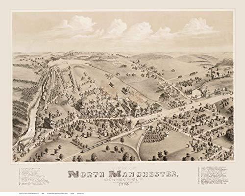 North Manchester Connecticut - 1880 - Birds Eye View Reprint